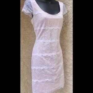BEBE White Nude Lace Scalloped Cap Sleeve Dress M